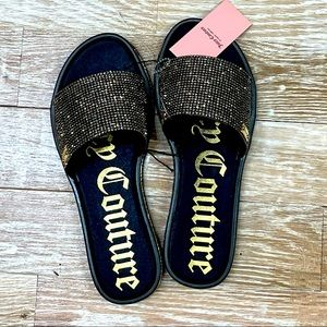 Juicy Couture Yummy Slides Sandals Bling Stones